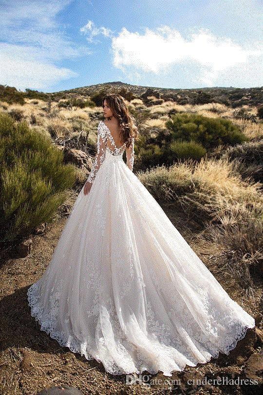 Modest Designer Wedding Dresses 2018 Rhinestone Appliques V-neck Long Sleeves Bride Gowns for Dubai Saudi Arabia Vestido De Novia BA6671