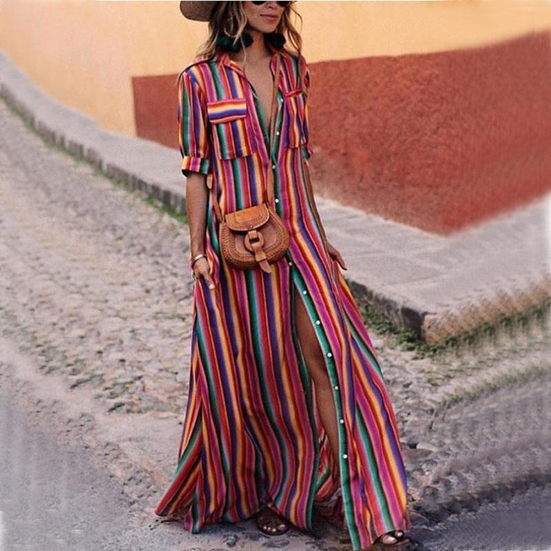 online store 0e2b9 85257 Camicia a righe Abito lungo maxi Abito estivo da donna in cotone colorato  colorato a maniche lunghe