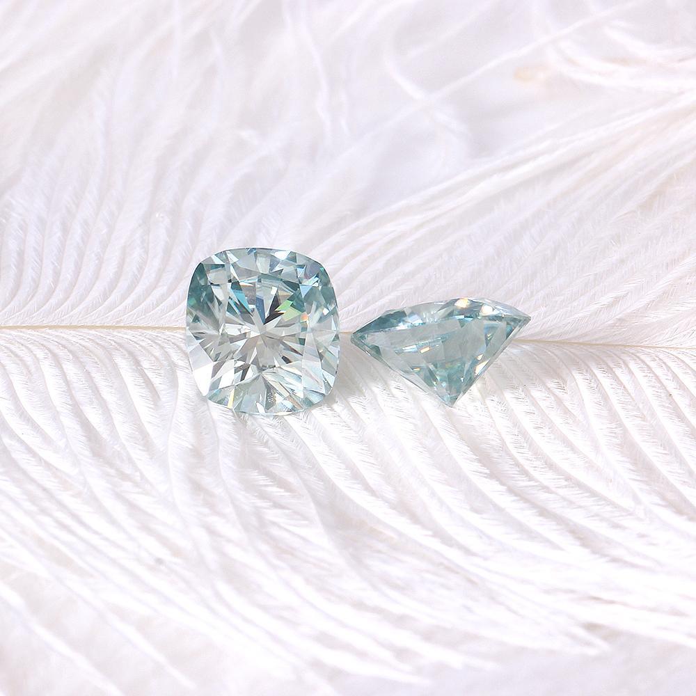 Doveggs 7mm 8mm 2 Carat Slight Blue Color Cushion Cut Lab Grown Moissanite Diamond Loose Stone Test Positive