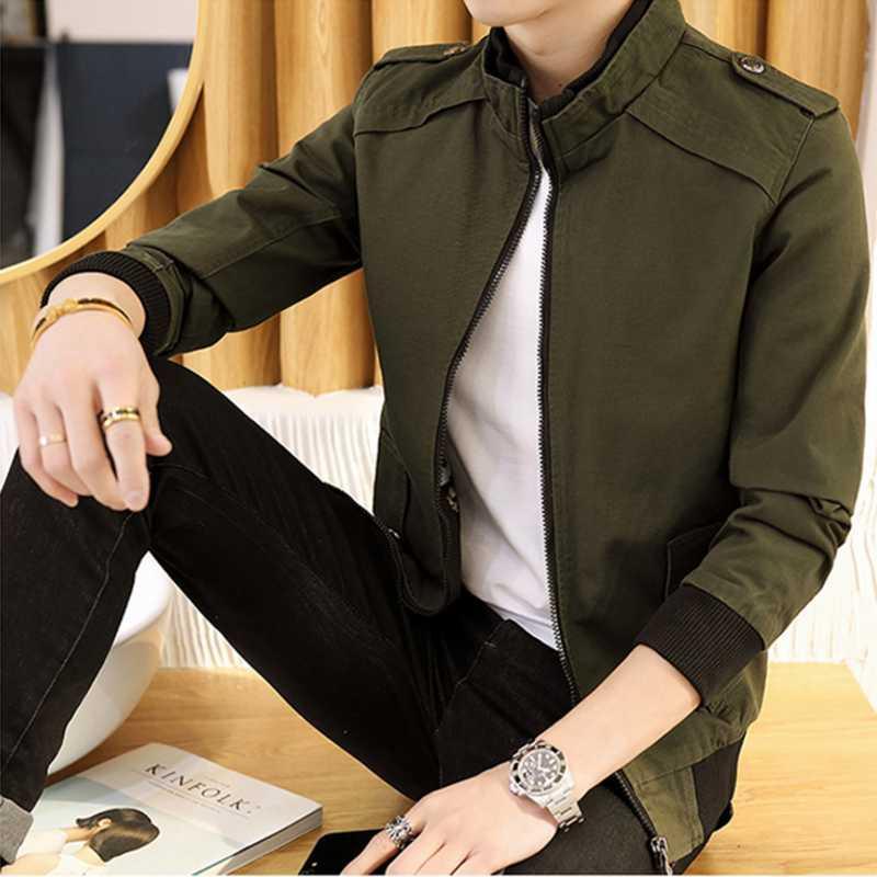 60ba0650a2580 Compre Moda Juvenil Para Hombre De Manga Larga De Otoño Chaqueta De  Invierno Negro Ejército Verde Caqui Oscuro Azul De Negocios Informal Hombre  Vestido De ...