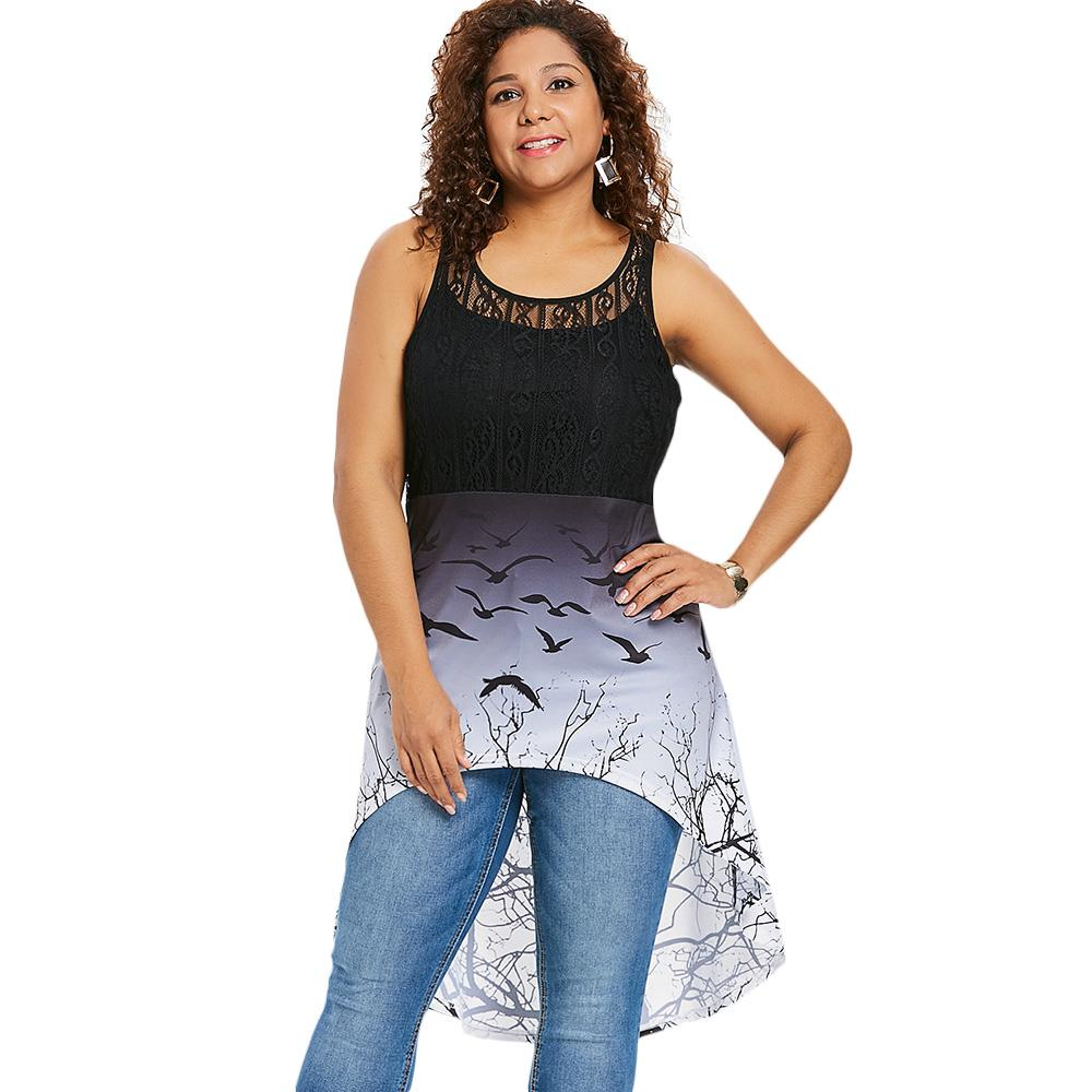 d451538e16e 2019 Kenancy Plus Size Bat Print Lace Panel High Low Top From Bevarly