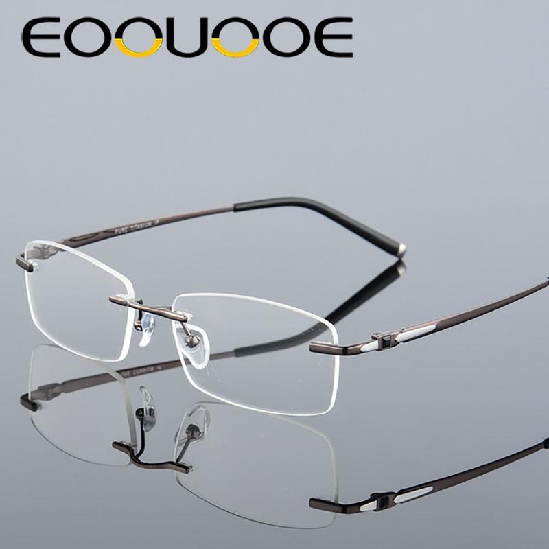 Acheter EOOUOOE Marque Design Titane Hommes Lunettes Sans Monture  Prescriptio Oculos Lunettes Gafas Opticas Glasse Cadre Oculos De Grau  Masculino De  35.68 ... 844ee37f30b0