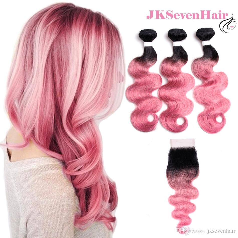 Dark Root Pink Body Wave Malaysian Remy Hair Extensions 3bundles