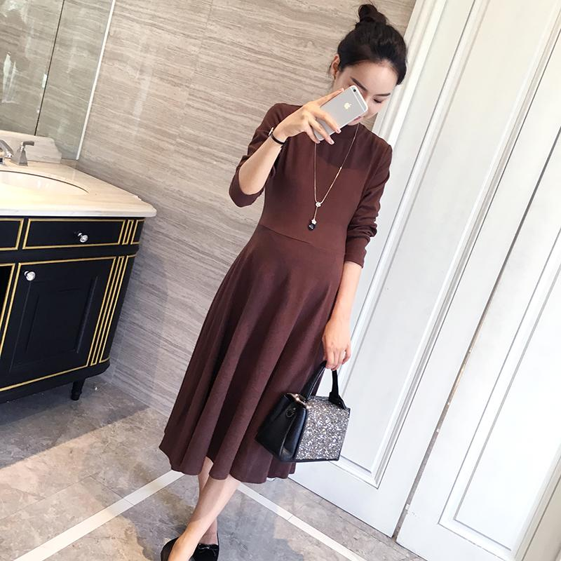 b504a758ed49e 2019 Autumn Korean Fashion Maternity Long Dress Slim Big Bottom Clothes For Pregnant  Women Cotton Pregnancy Clothing From Mingway245, $23.62 | DHgate.Com