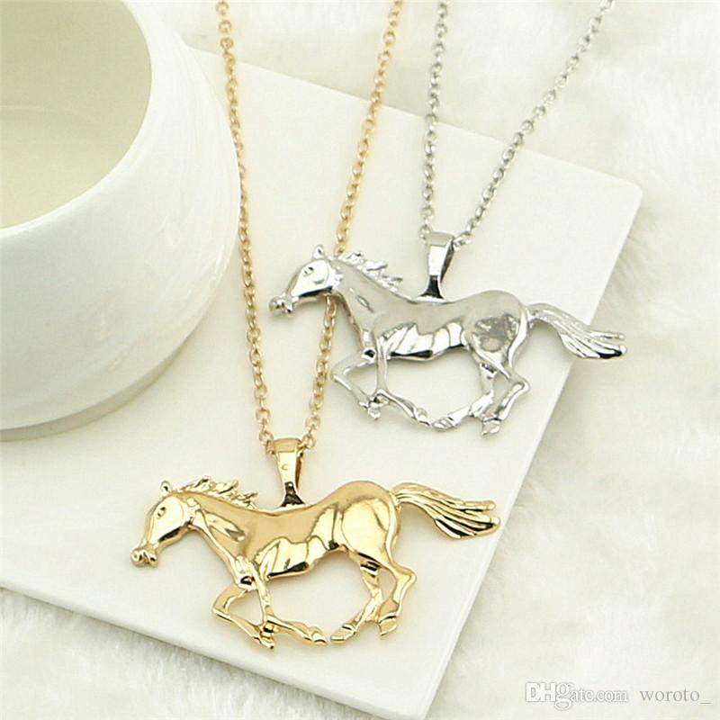 Fashion Jewelry Horse Pendant Necklace For Women Ladies Silver Gold Plated Girl Mom Gift
