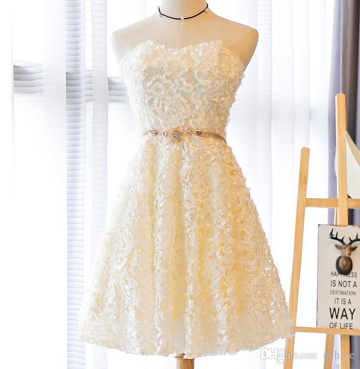 Promosyon Straplez Kanat Kısa Mezuniyet Elbiseleri Ucuz Gri Şampanya Straplez Dantel Kısa Gelinlik Modelleri Çin Parti Kokteyl Abiye 2020