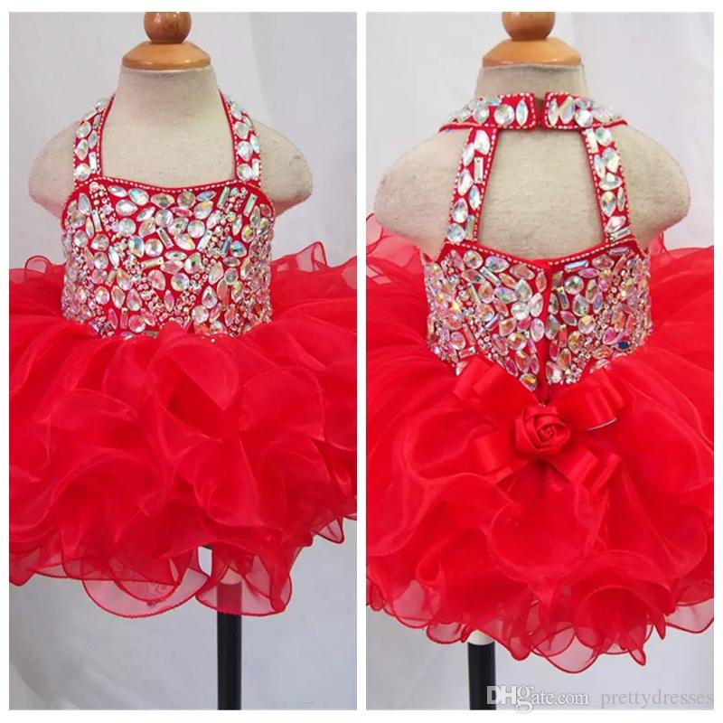 2019 Cute Bling Bling Crystal Beaded Girls Glitz Pageant Cupcake Dresses Infant Short Tutu Gowns Infant Halter Mini Baby Formal Wear