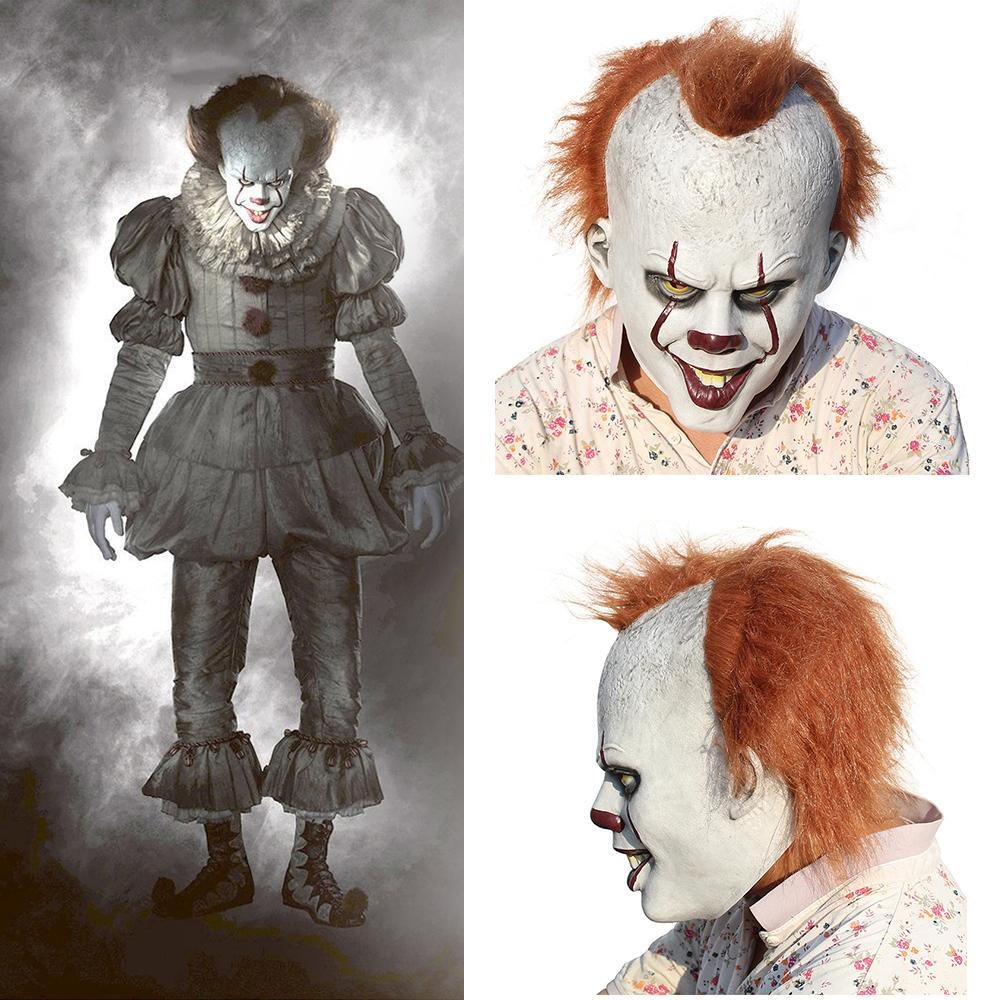 2018 scary halloween pennywise mask costume stephen king it 2 scary