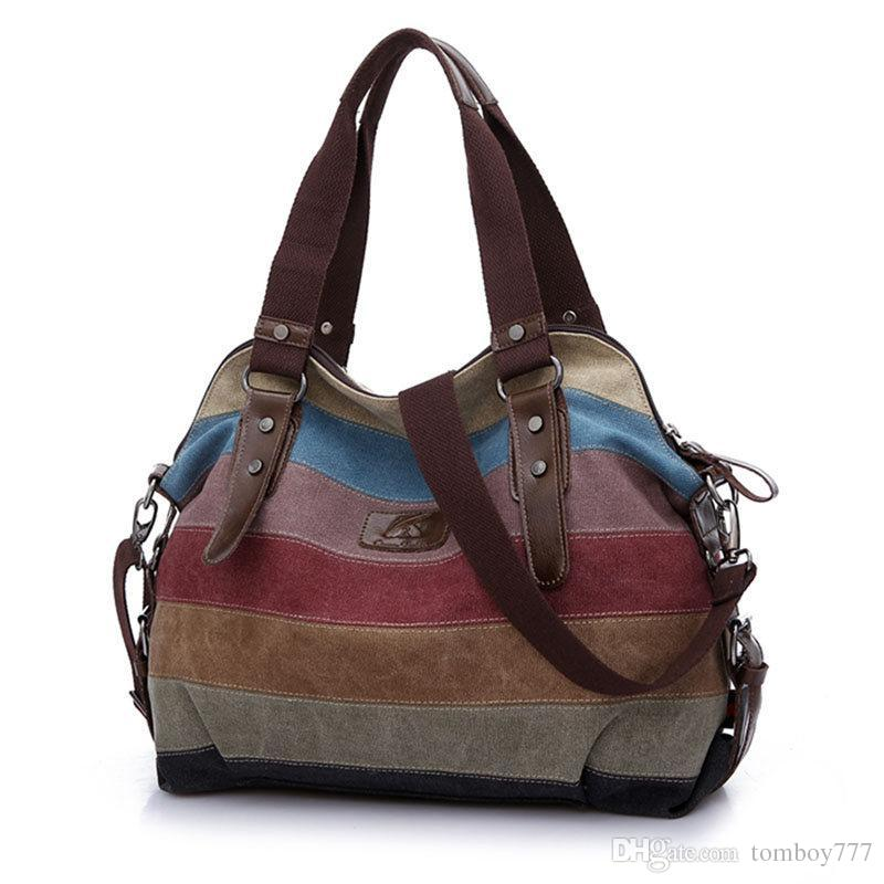 Famous Fashion Women Canvas Handbag Leather Shoulder Messenger Bag Stripe Crossbody Bag Patchwork Shopping Totes bolsa mujer Li532