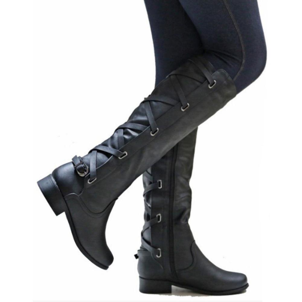ba00c11889fa New Women S Autumn Winter Brown Black Leather Side Zip Boots Fashion Dress  Low Heel Mid Calf Knee High Boots Women Size US 4 9 Black Boots For Women  ...