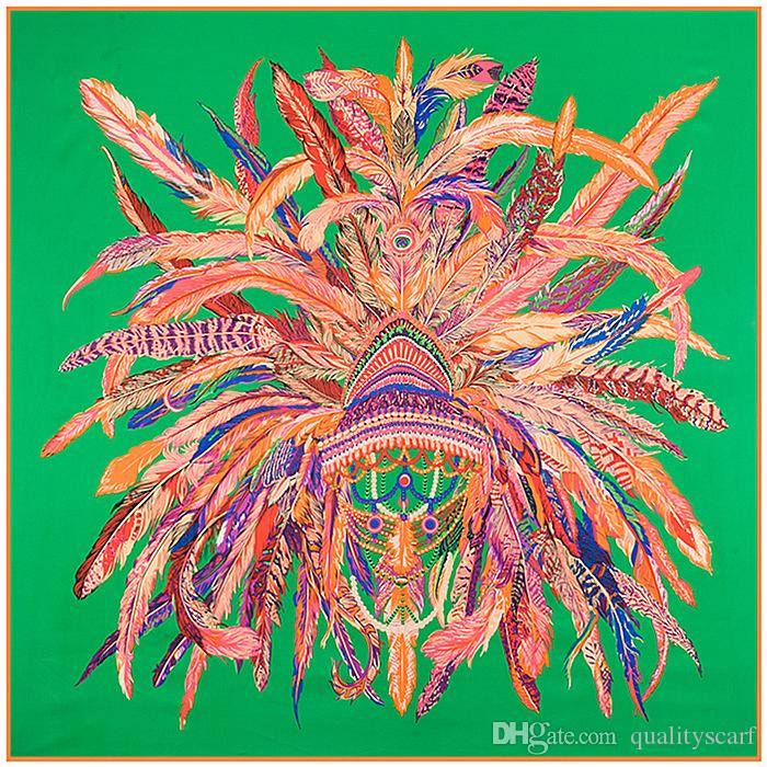 3c2ed392d6da Ethnic Feather Green Large Silk Square Print Scarf for Women New Indios  Shawl Foulard Femme Echarpe Women Silk Scarf Silk Scarf 130 130cm Large  Silk Scarves ...