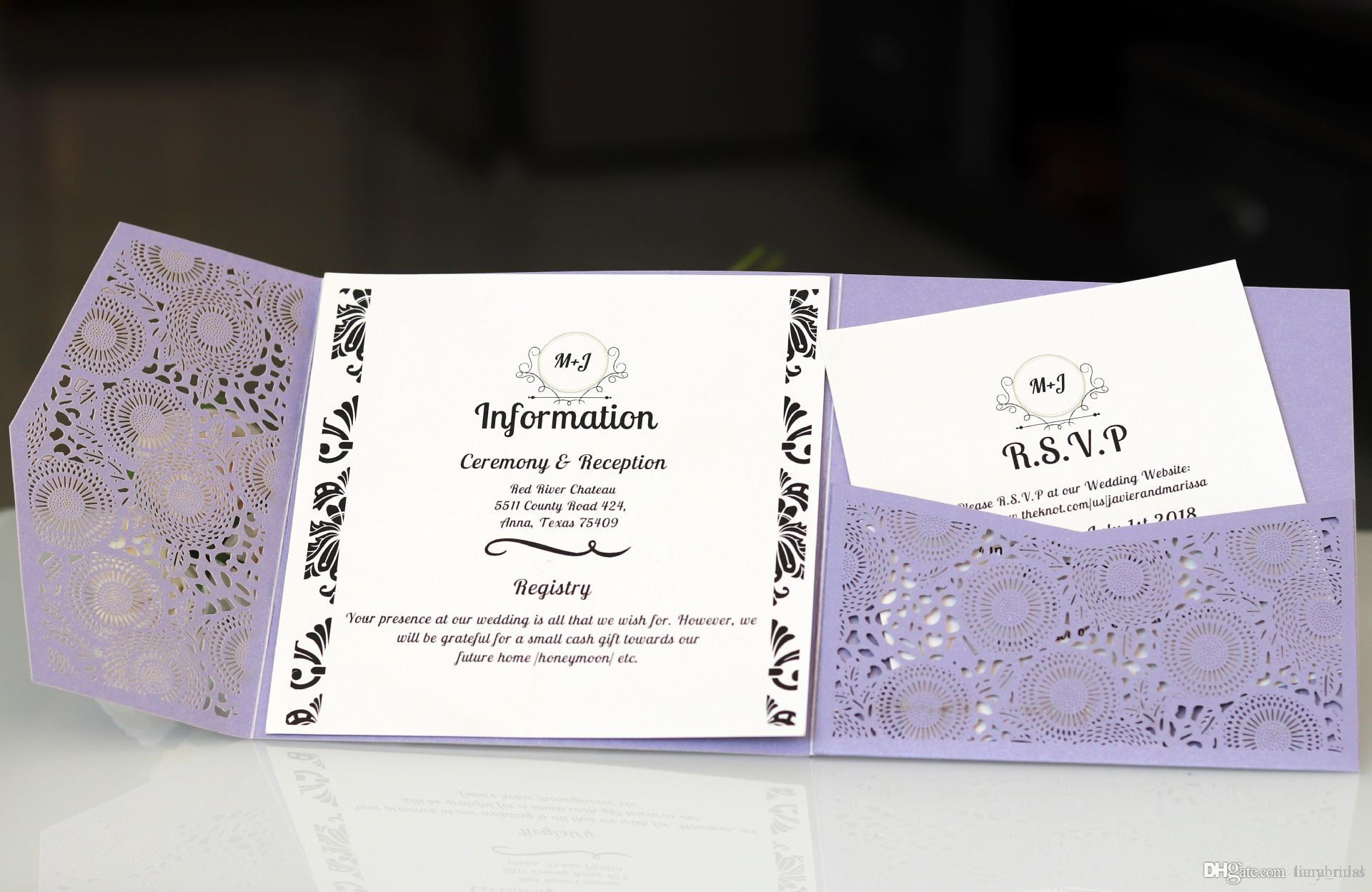 Light Purple Folded Laser Cut Invitations Cards With Rsvp White Pearl Paper Invite Card Stock For Birthday Party Supply Online Wedding Invitation: Purple Wedding Invitation Card At Websimilar.org