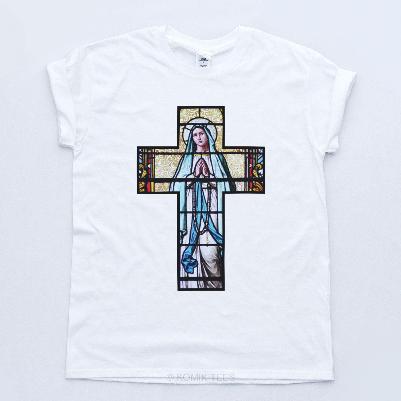 CRUCIFIX T SHIRT Trill Indie Baroque Religious Fresh Cross Cult Church Top  white black grey red trousers tshirt