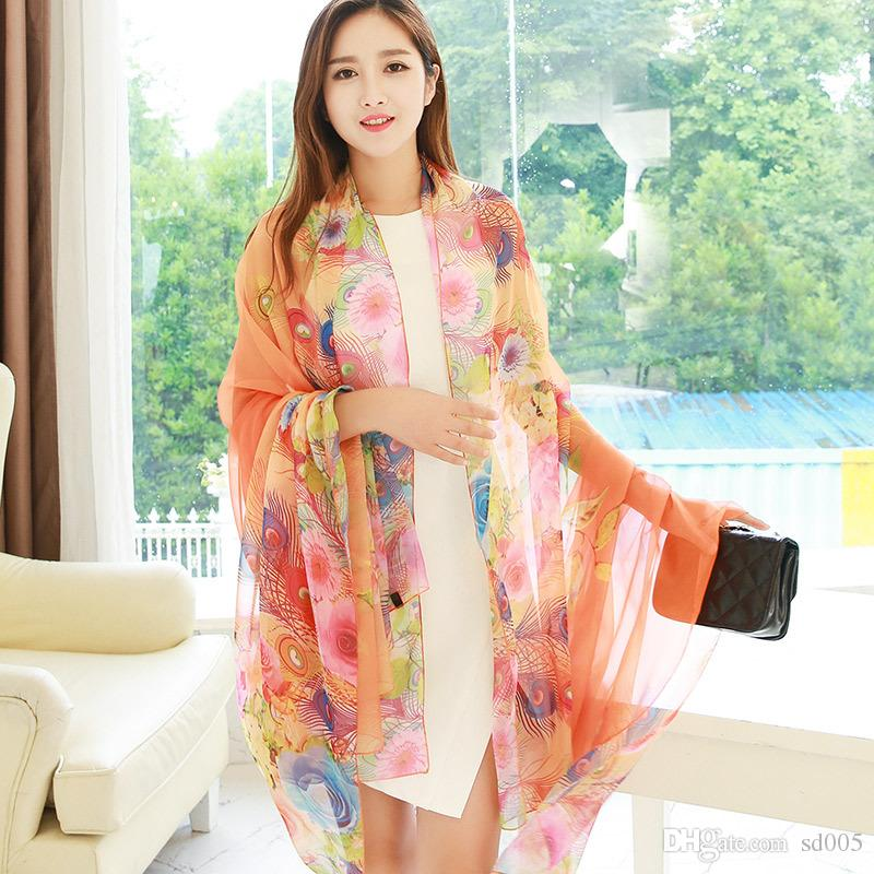 Creative Women Peacock Silk Scarf Air Conditioning Oversize Printing Comfortable Soft Scarves For Decoration Hot Sale 14 5yt ff