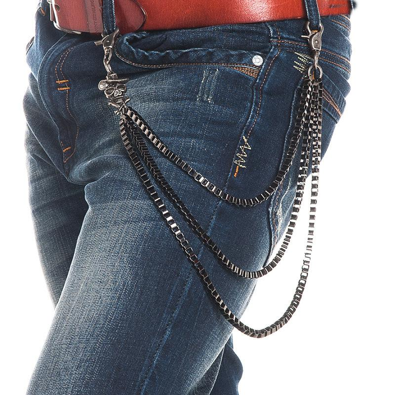 fa5ac3505a Fashion Punk Pants chain Belt Waist Chain Male skeleton Men Jeans Metal  Clothing Accessories Jewelry