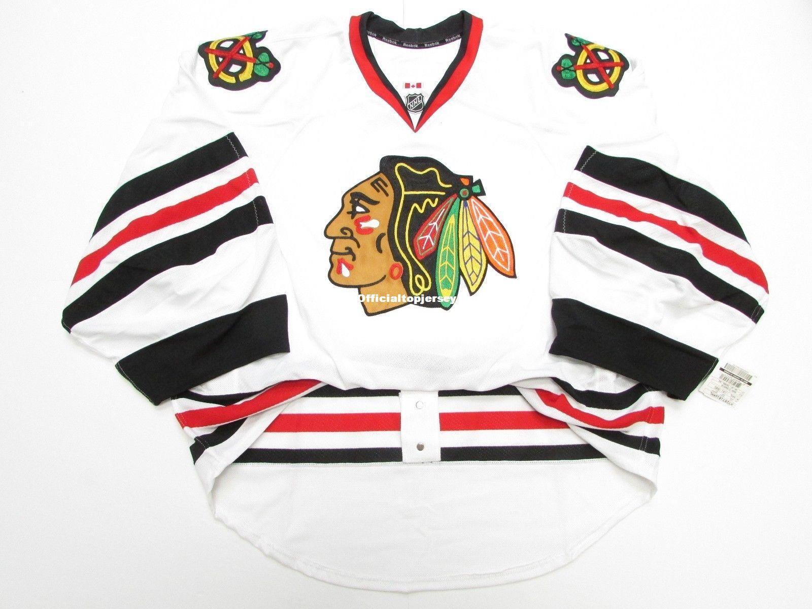 Cheap wholesale Custom CHICAGO BLACKHAWKS AWAY EDGE JERSEY GOALIE CUT 60 Mens Stitched Personalized hockey Jerseys