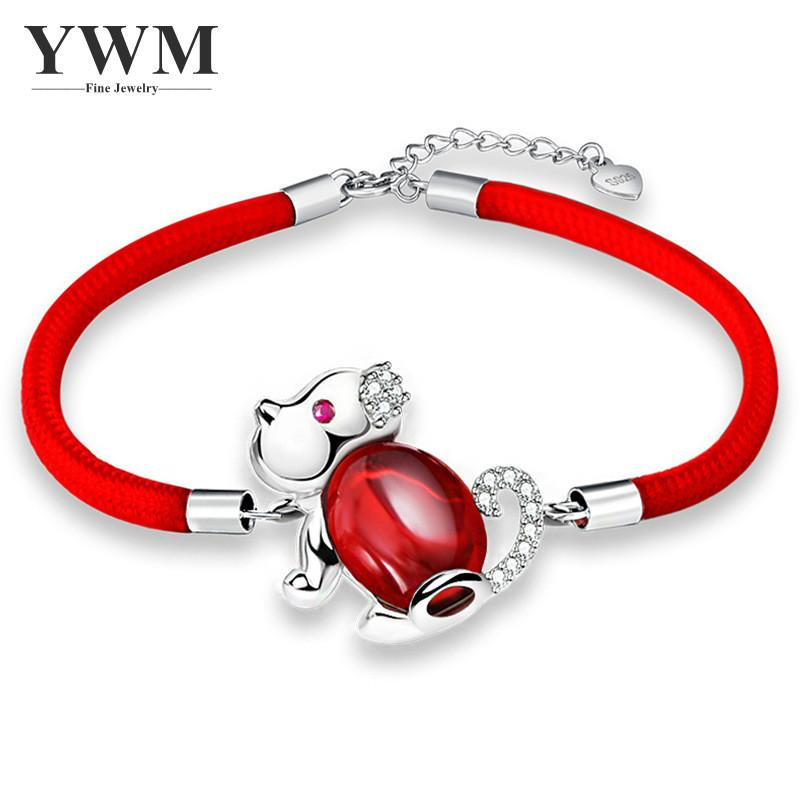 YWM 925 Sterling Silver Agate Dog Bracelet Red String Jewelry The Chinese Zodiac Signs for Women Girl Men Great Gift