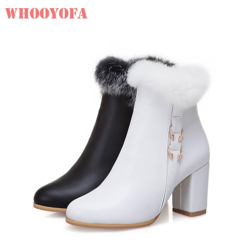 ad6e8a31b049 Brand New Winter Sexy White Black Women Furry Snow Boots 3 Inch High Heels  Lady Dress Shoes WG31 Plus Big Size 10 33 43 49 52 Boots For Men Girls Boots  From ...