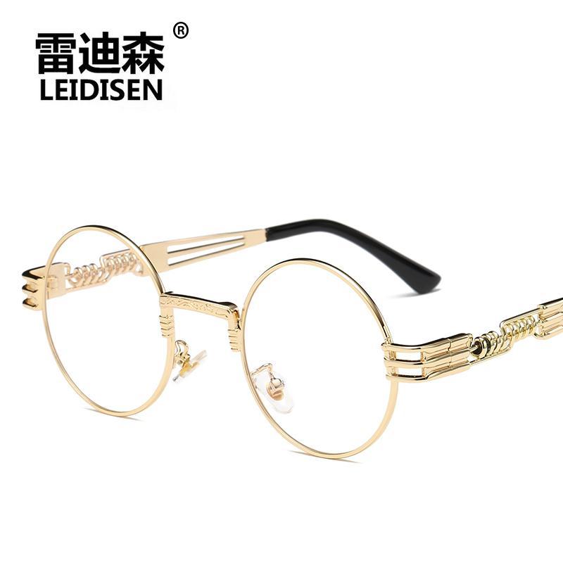 3adda24f1d7 LEIDISEN Round Sunglasses Men Women Metal Punk Vintage Sunglass Brand  Fashion Glasses Mirror Lens Top Quality Oculos UV400 Prescription Sunglasses  Online ...