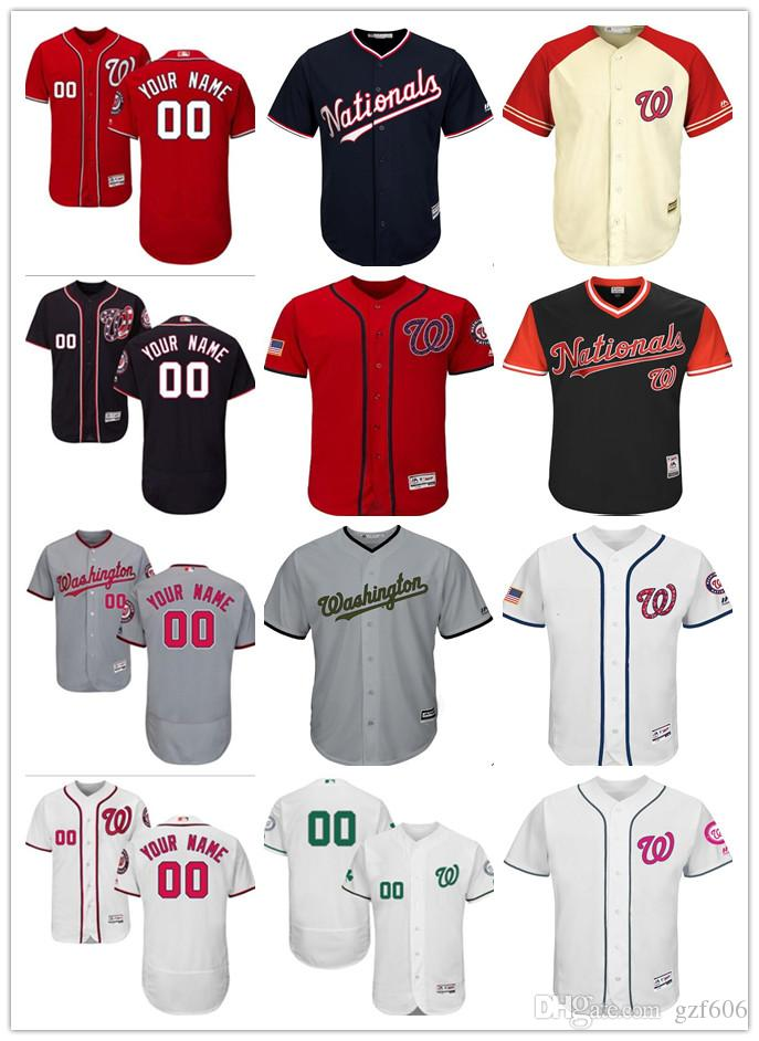 innovative design dd7d1 2f597 custom Men s women youth Majestic Washington Nationals Jersey Personalized  Name and Number Red Grey White Kids Girls Baseball Jerseys