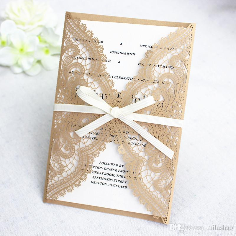 Precisely Lace Laser Cutting Shiny Wedding Invitation Gold