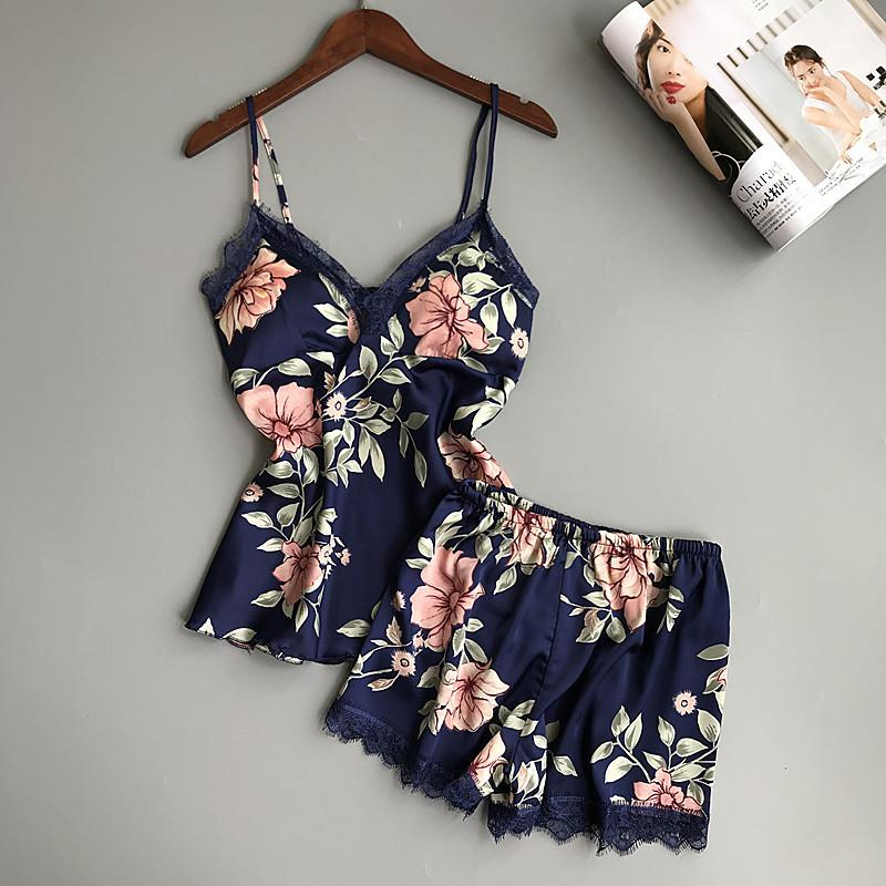 f8615e6f5d38 QWEEK Sleep Lounge Pajama Set Sexy Satin Sleepwear Summer Pyjama Femme  Fashion Flower Pajamas For Women With Chest Pad S1015 Nightwear Pyjamas  Ladies ...