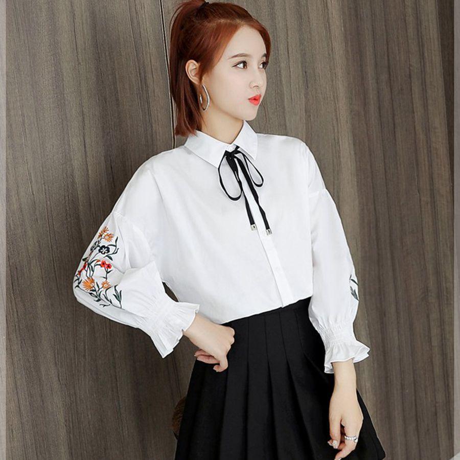 15ff46c9beae Новая корейская версия 2018 осень рубашка женская мода с длинными рукавами  рубашки