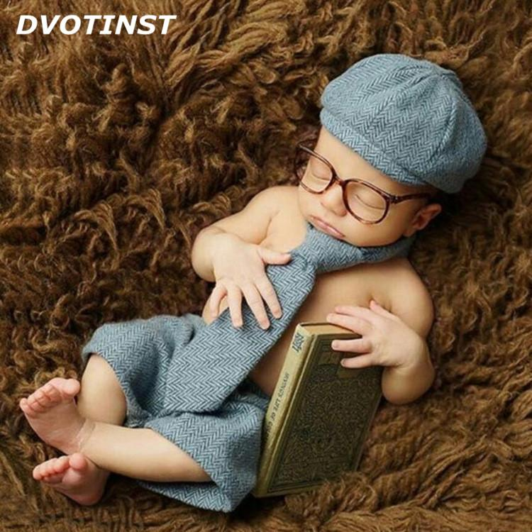 4002d3f5be1 2019 Dvotinst Newborn Photography Props Baby Boy Shorts +Hat +Long Tie  +Glasses Gentleman Set Costume Clothing Studio Shoot Photo Prop From  Yuan0907