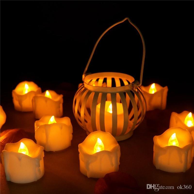 Drop tear LED tealight Flicker Batería Velas Plástico Eléctrico Sin llama Luces de té para la Navidad Decoración de la boda de Halloween