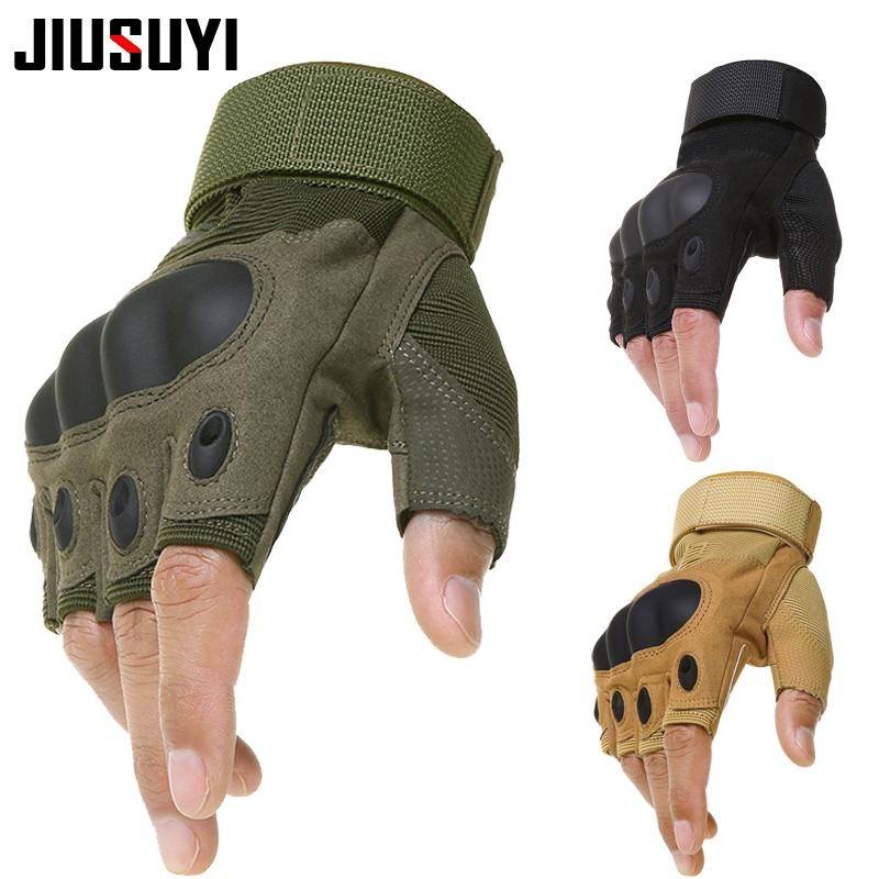 Tactical Gloves Army Bicycle Combat Paintball Work Shooting Fingerless  Carbon Hard Knuckle Half Finger Gloves