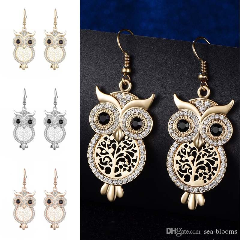 c2c38f71c 2019 Wholesale 2018 Rose Gold Color Owl Stud Earring Gold Color Zircon  Earrings For Women Wedding Vintage Ethnic Jewelry D791S From Sea Blooms, ...