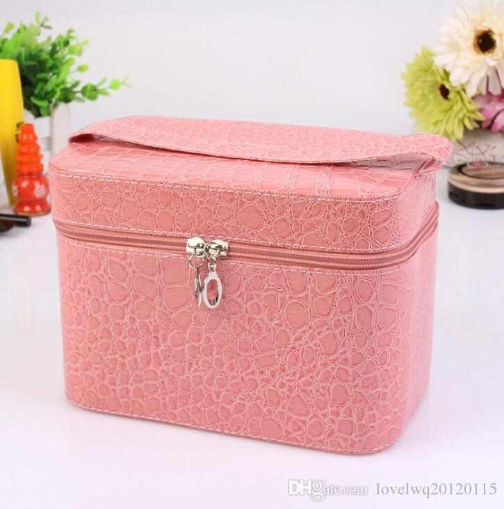 New Fashion women square multi-purpose storage bag stone pattern cosmetic bag leather cosmetic case women bags