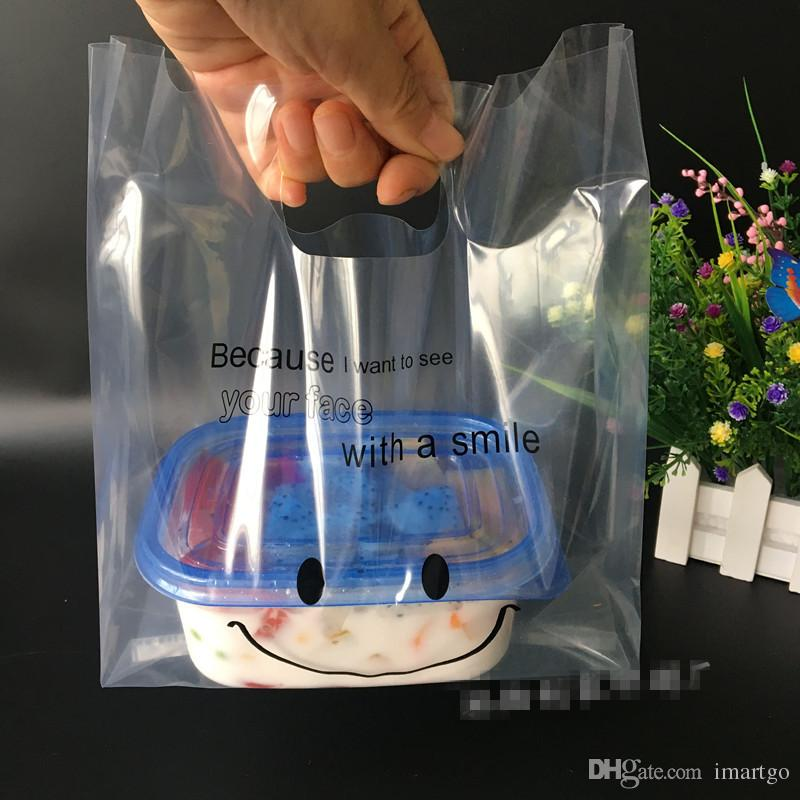 100pcs Cartoon cute Bag 25x34cm with Smile Clear Plastic Bag Jewelry Packaging Wedding Transparent Gift Bags bag baking Pack bags