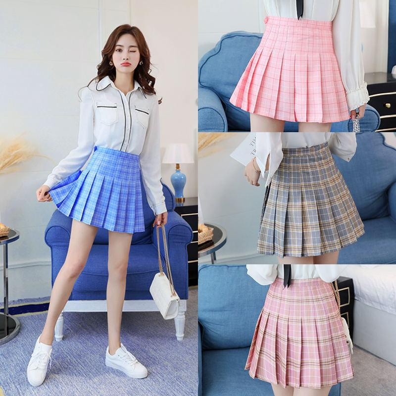 9f729e6c42 2019 Summer Fashion Plaid Print Pleated Skirt Women 2018 New Harajuku  Cotton High Waist Small Fresh Pink   Sky Blue Skirt 983  From Shipsoon