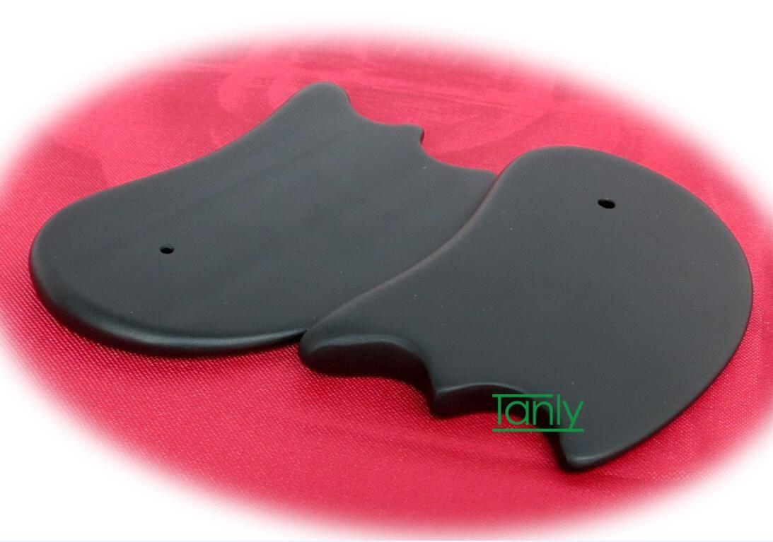 24 шт./лот Оптовая традиционный акупунктурный массаж инструмент гуа ша комплект природный Си Бянь черный Бянь камень 105x60 мм