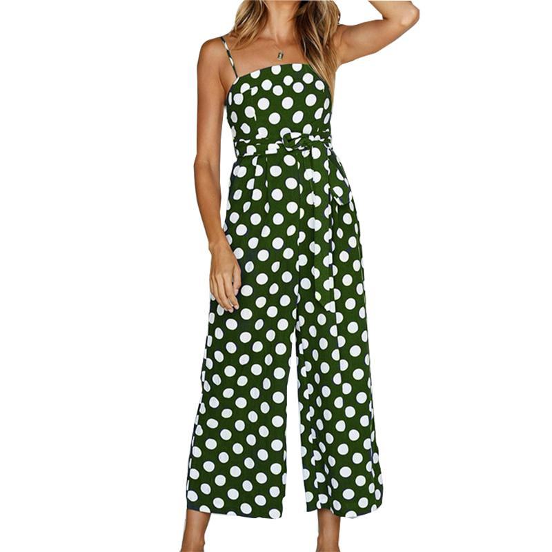 859d8c747fd 2019 Spaghetti Strap Kawaii Polka Dot Jumpsuits Sexy Sleeveless Beach  Summer Jumpsuit Women Wide Leg Pants Plus Size Overalls GV100 From Bunnier