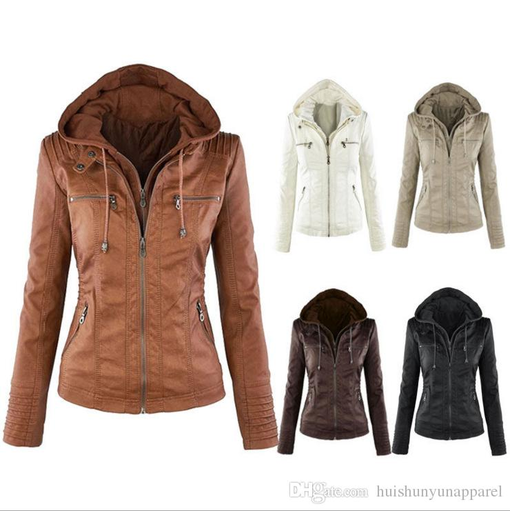 92e4c6dd5d3ee Female Autumn Winter Motorcycle Hooded Faux Long Sleeve PU Leather ...
