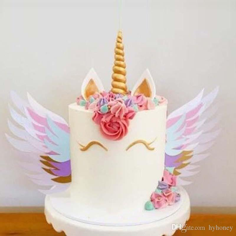 Unicorn Wings Wedding Cake Topper For Decor Mariage Valentines Day on