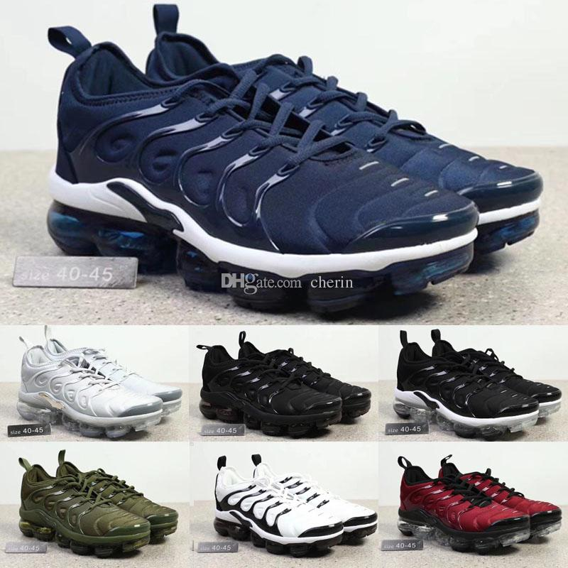 wholesale 2018 Plus Olive In Metallic White Silver Colorways Shoes Men Shoes For Running Male Shoe Pack Triple Mens Vapormax TN Shoes 002 excellent F2e7qPT