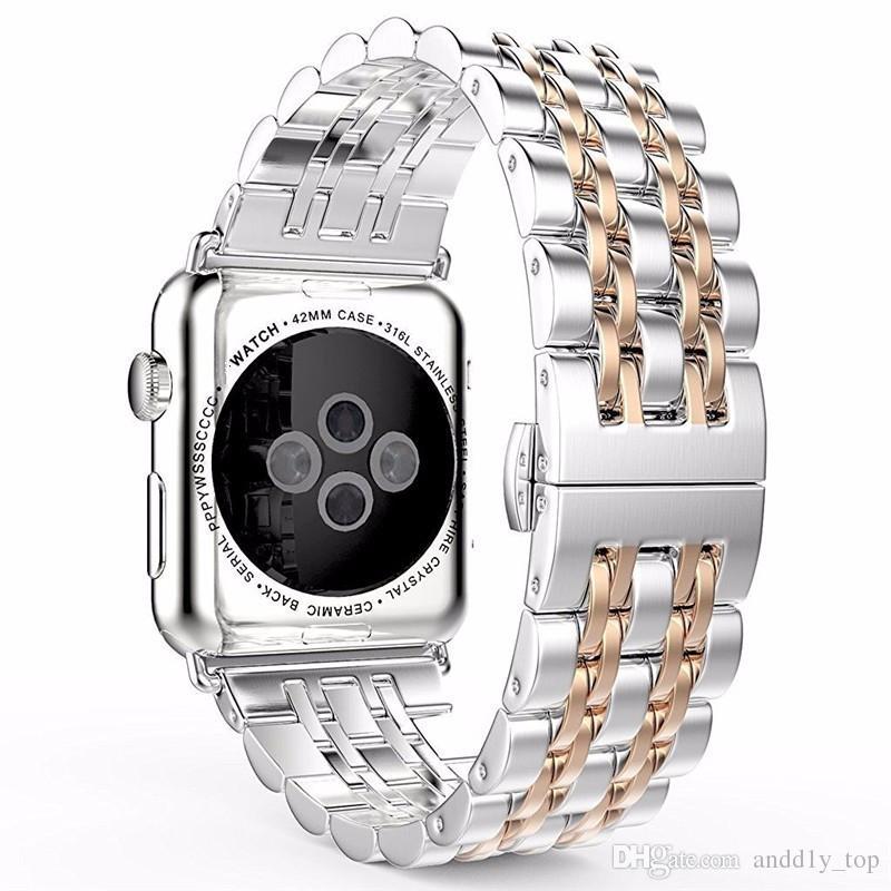 Samsung Gear S3 Paslanmaz Çelik Band için 2017 Yeni Lüks Yedek Metal Watchband Bilek Kayışı Apple İzle 7 Boncuk Bağlantı Bağlayın