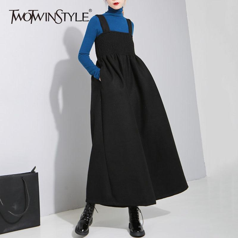 1155e7a3dcd7 2019 TWOTWINSTYLE Woolen Suspender Jumpsuit For Women Winter Long Palazzo  Wide Leg Pants Female Big Size Ealstic Chest Casual Clothes From Jingju