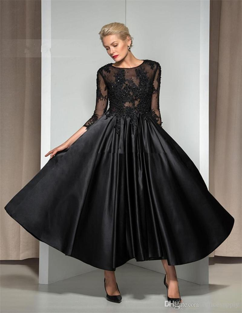 Vintage Black knöchellangen Mutter der Braut Kleid 3/4 Ärmel Perlen Lace Satin A Line Frauen Abend Party Kleider nach Maß