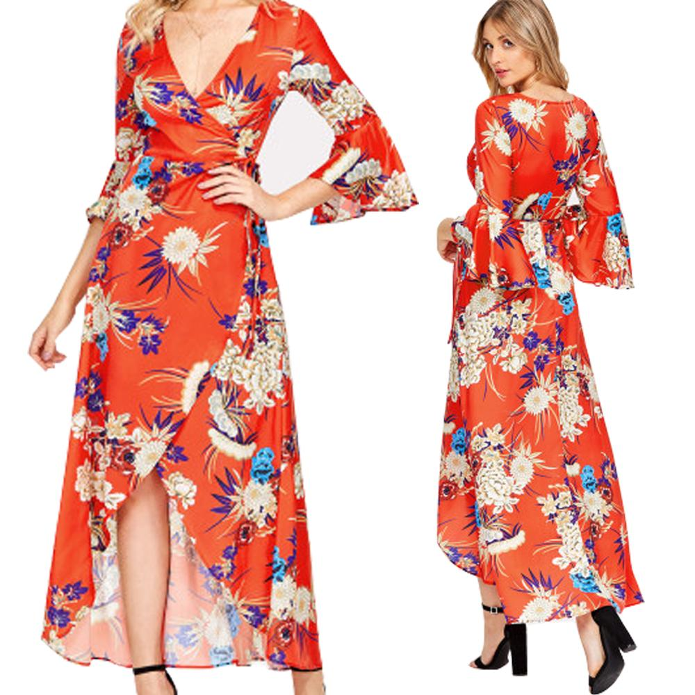c5822456633 Floral Maxi Dress with Deep V Neck Flutter Sleeve Wrap Dress Plus Size Asymmetric  Hem Summer Dresses for Women Orange Color Floral Maxi Dress Deep V Neck ...
