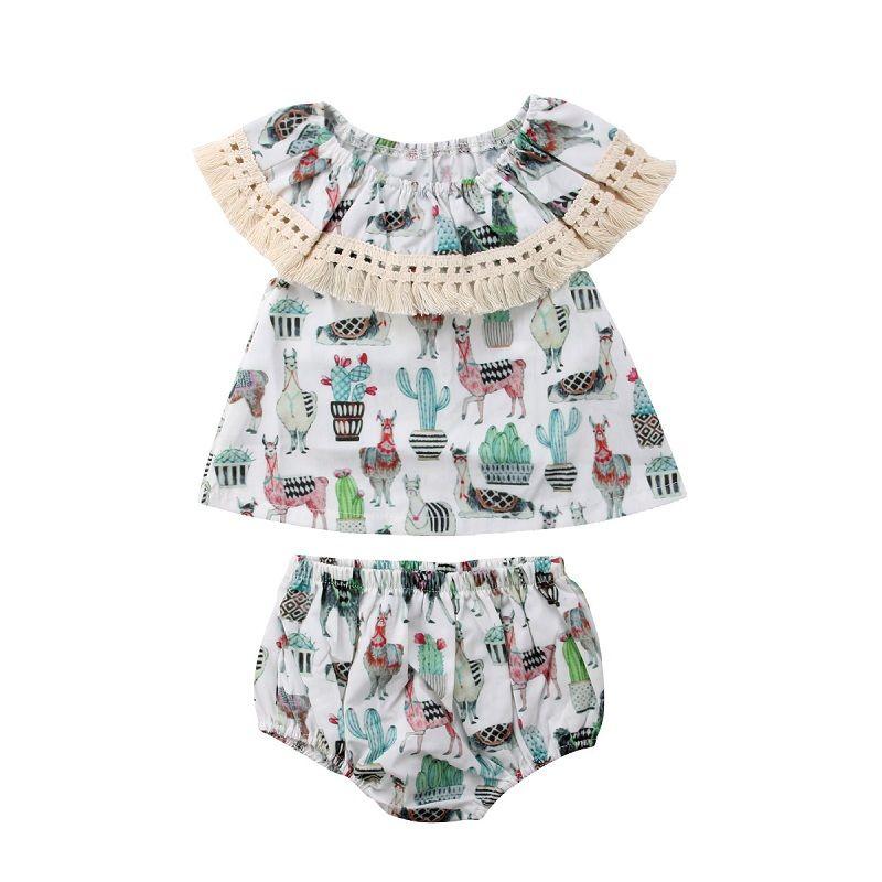 dea90f19dbb9 Vieeoease Girls Sets Cartoon Kids Clothing 2018 Summer Sleeveless Tassels  Top + Fashion PP Shorts Children Outfits 2 pcs EE-509