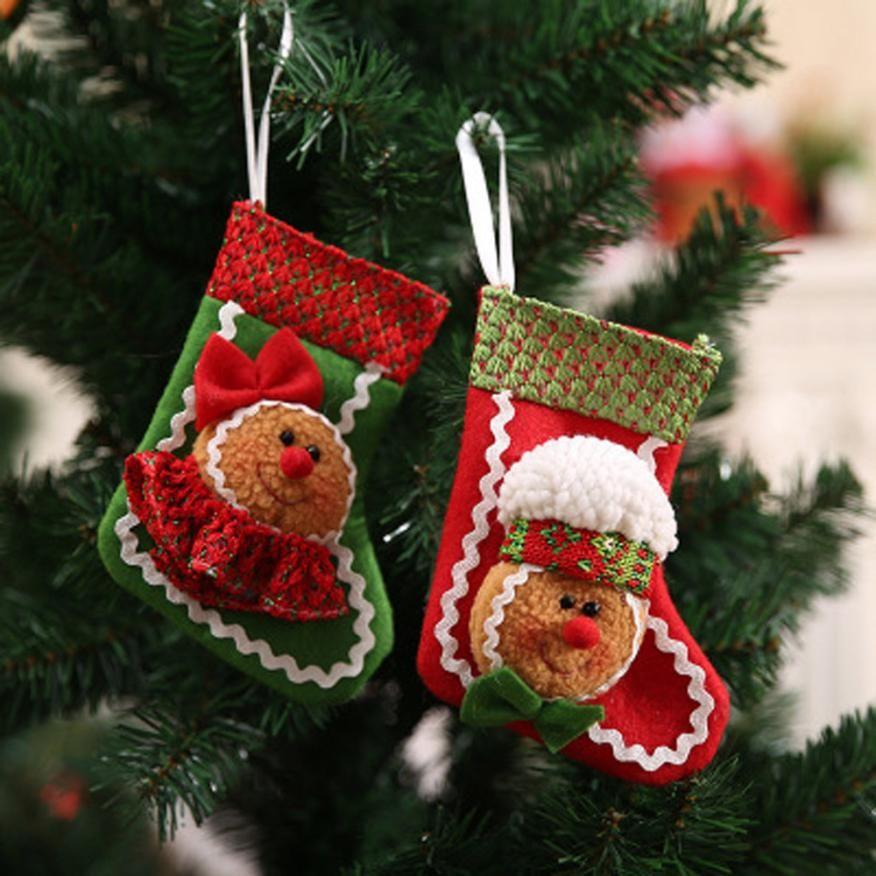 2018 Christmas Gift Bag Santa Claus Snowman Elk Xmas Decor Ornament Sock Decors Natal Decora o Christmas Decorations for Home