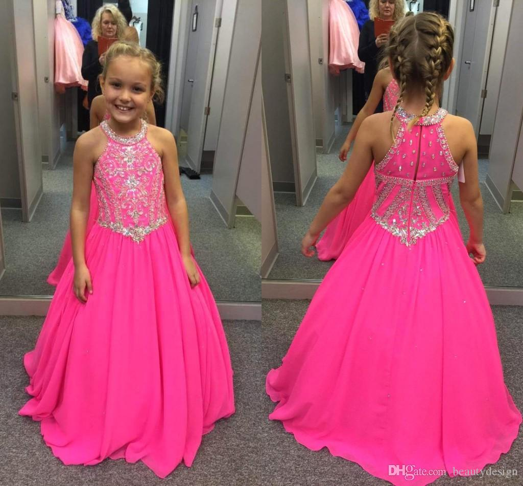 7966b2631edd 2018 Pretty Fuchsia Beaded Crystals Girls Pageant Dresses A Line ...