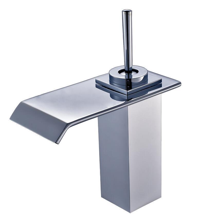matériau en laiton chromé conception moderne carré évier salle de bain  lavabo robinet robinet mélangeur