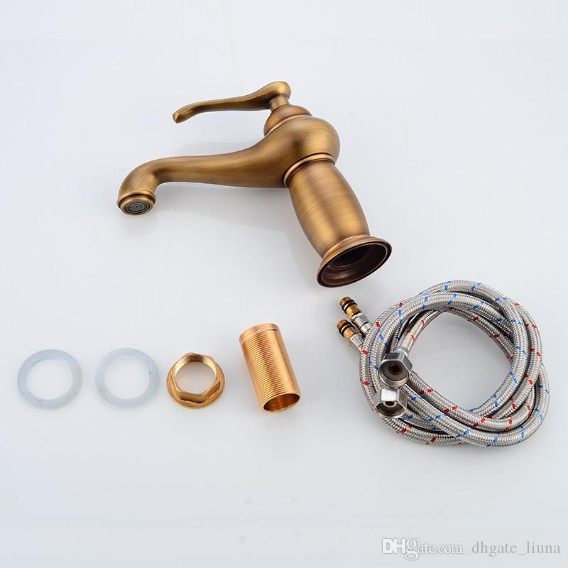 Robinets de lavabo en laiton antique robinetterie de lavabo mitigeur Vintage montage sur pont chaud robinet de bain mitigeur