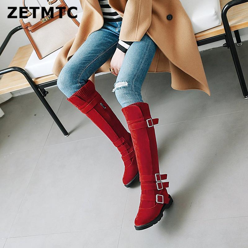 2018 Tamaño grande 32 43 Señoras Rodilla Botas Altas Mujeres Gruesos Zapatos de tacón alto Mujer Botas de Invierno Cremallera Hebilla Hebilla Correa