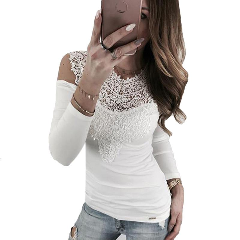 9593859cf6f 2018 New Spring Autumn Women T Shirt Tops Lace Patchwork Cold Shoulder Sexy  Long Sleeve Tees Shirt Clothing Plus Size Order Tee Shirts T Shirt With  Design ...
